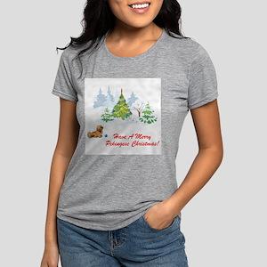 FIN-merry-pekingese-christmas Womens Tri-blend