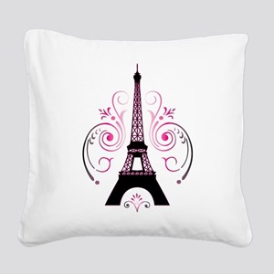 Eiffel Tower Gradient Swirl Square Canvas Pillow