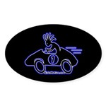 Kokopelli Race Car Driver Oval Sticker