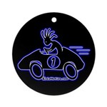Kokopelli Race Car Driver Ornament (Round)