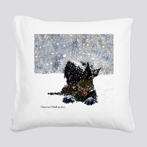 Scottish Terrier Christmas Square Canvas Pillow