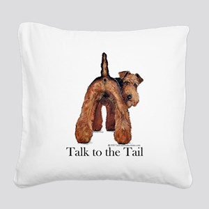 Airedale Terrier Talk Square Canvas Pillow