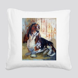 Basset 11x13 Square Canvas Pillow