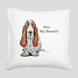 Bassett kiss mine too Square Canvas Pillow