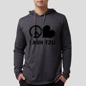 FIN-peace-love-shih-tzu Mens Hooded Shirt