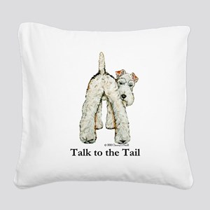 Wire Fox Terrier Tail WFT Square Canvas Pillow