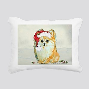 Pommy in the snow 2 Rectangular Canvas Pillow