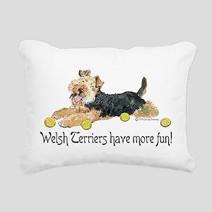 Welsh Terrier Fun Rectangular Canvas Pillow