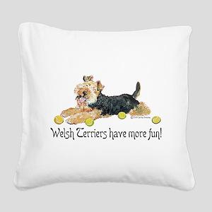 Welsh Terrier Fun Square Canvas Pillow