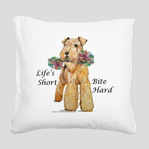 airedale10x10 bite hard - flat Square Canvas P