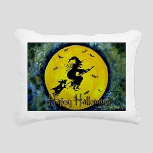 Scottie Witch Broom Rectangular Canvas Pillow