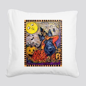 Scottie Halloween Witch Square Canvas Pillow