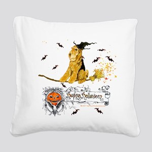 Halloween Airedale Square Canvas Pillow