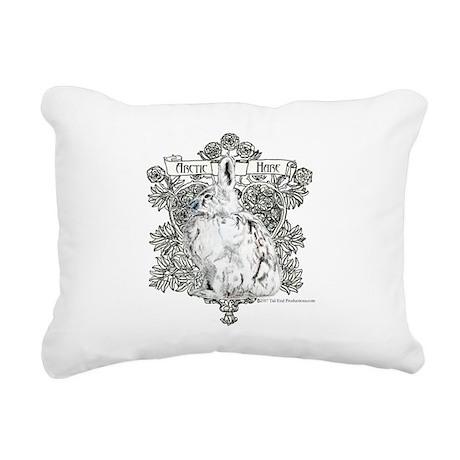 Arctic Hare White Rabbit Rectangular Canvas Pillow