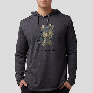 I Love My Yorkie Mens Hooded Shirt