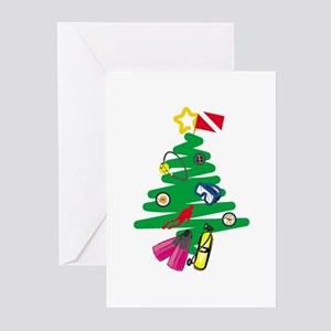 Scuba Tree Greeting Cards