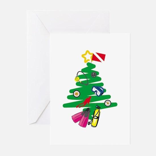 Scuba Tree Greeting Cards