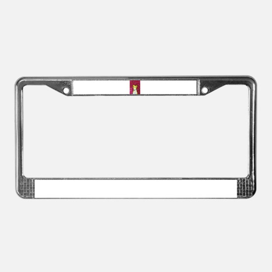 Yellow Dog License Plate Frame