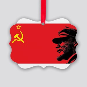 Lenin Soviet Flag Picture Ornament