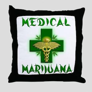 Medical Marijuana Cross Throw Pillow