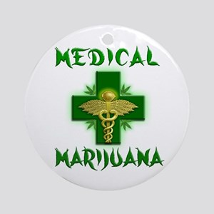 Medical Marijuana Cross Ornament (Round)