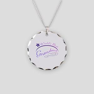 World's Best Grandma (purple) Necklace Circle Char