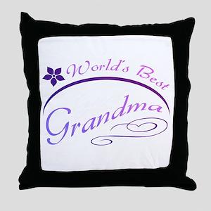 World's Best Grandma (purple) Throw Pillow