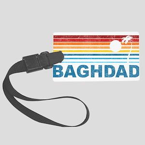Retro Palm Tree Baghdad Large Luggage Tag