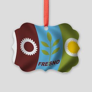 Wavy Fresno Flag Picture Ornament