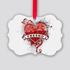 Heart Fresno Picture Ornament