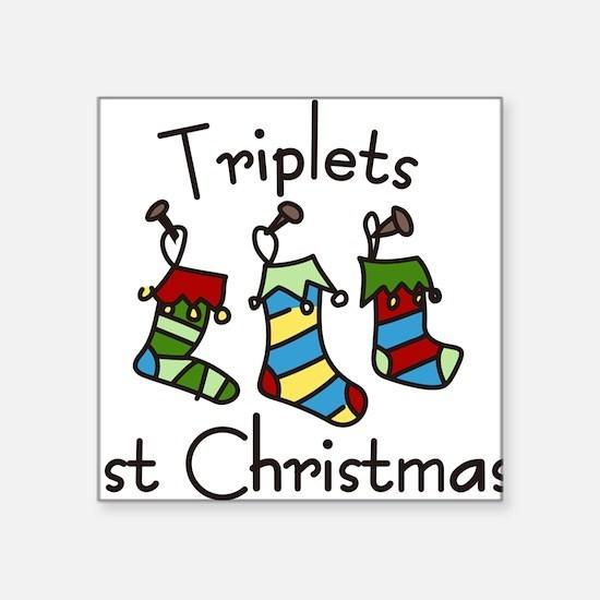 "Triplets 1st Christmas Square Sticker 3"" x 3"""