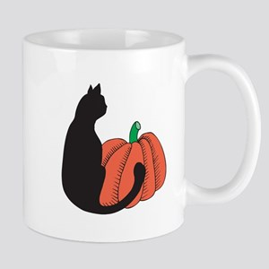 Black Cat and Pumpkin Mug