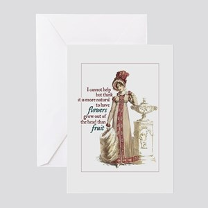 Jane Austen Flowers Hat Greeting Cards (Pack of 10