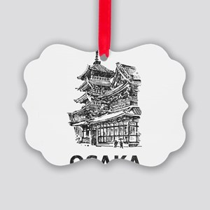 Vintage Osaka Temple Picture Ornament