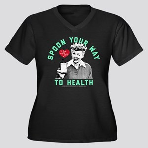 Lucy Spoon T Women's Plus Size V-Neck Dark T-Shirt