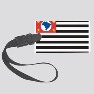 Sao Paulo Flag Large Luggage Tag