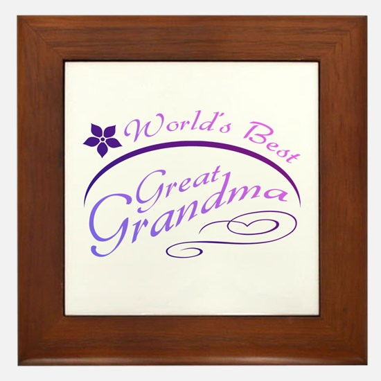 World's Best Great Grandma (purple) Framed Tile