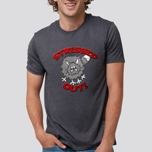 FIN-stressed-out-cat Mens Tri-blend T-Shirt