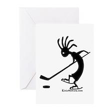 Kokopelli Hockey Player Greeting Cards (Package of