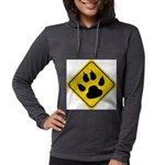 cat-crossing-sign.... Womens Hooded Shirt