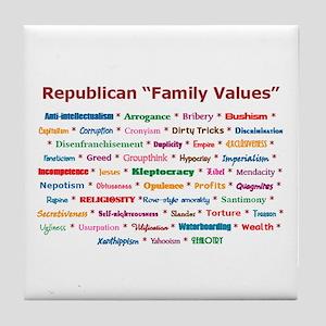 Republican Values Tile Coaster