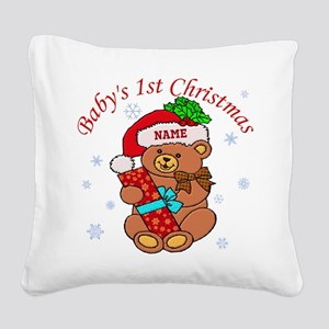 Baby's 1st Christmas Square Canvas Pillow