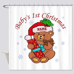 Baby's 1st Christmas Shower Curtain