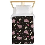 Pink Roses on Dark background Twin Duvet