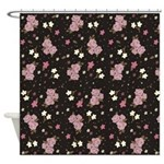 Pink Roses on Dark background Shower Curtain