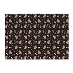 Pink Roses on Dark background 5'x7'Area Rug