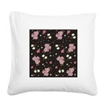 Pink Roses on Dark background Square Canvas Pillow