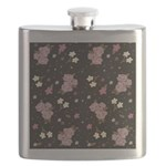 Pink Roses on Dark background Flask