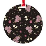 Pink Roses on Dark background Round Ornament