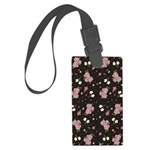 Pink Roses on Dark background Large Luggage Tag